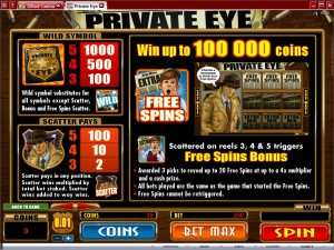 Private-Eye-paytable