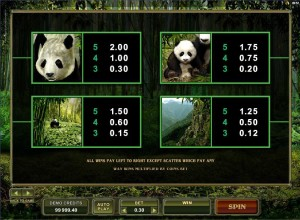 Untamed-Giant-Panda-paytable