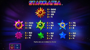 Starmania-paytable