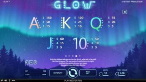 Glow-paytable