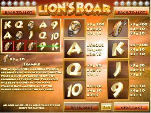 Lion's-Roar-paytable